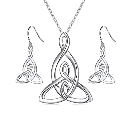 Item Mother and Two Children Celtic Knot Necklace and Item Mother and Two Children Celtic Knot Earrings Bundle