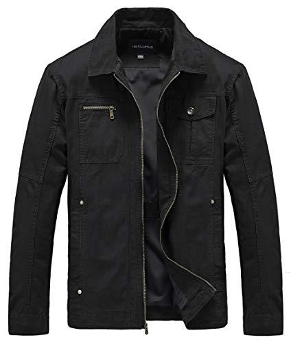 Heihuohua Men's Casual Military Jacket Cotton Field Jacket (X-Large, 29-Black)