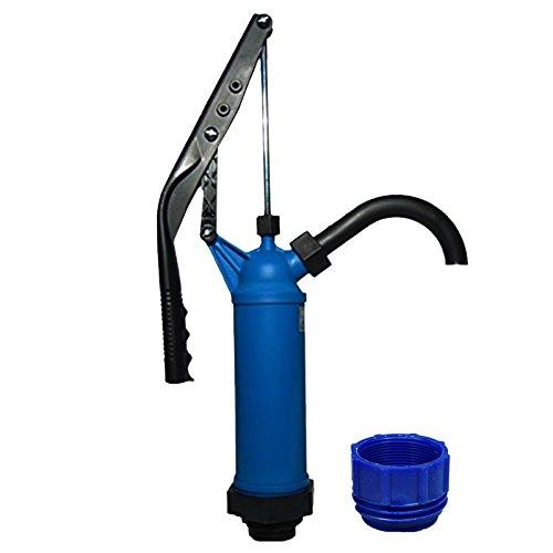 ABACUS Fasspumpe Vario mit variablem Hub + Adapter blau für Gewinde S70x6 - geeignet für Alkohole, Benzin, Diesel, milde Laugen und milde Säuren - Handpumpe Hebelfasspumpe Ölpumpe Kerosinpumpe (7219)