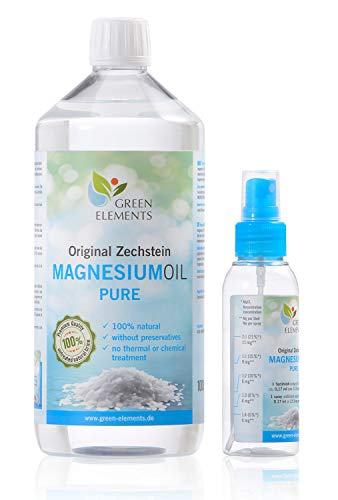 Huile de magnésium PURE de Zechstein – set de 1000 ml de saumure naturelle de chlorure de magnésium et d'un vaporisateur de 100 ml