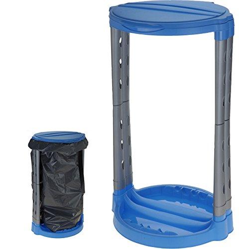 Unbekannt Müllsackständer 60-120l Blau Silber Müllständer Müllsackhalter Mülltonne Mülleimer Gelber Sack