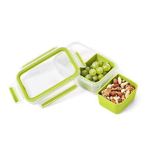 EMSA Snackbox mit 2 Einsätzen Clip Go Frischhaltedose, Frischhaltebox, Vorratsdose Grün