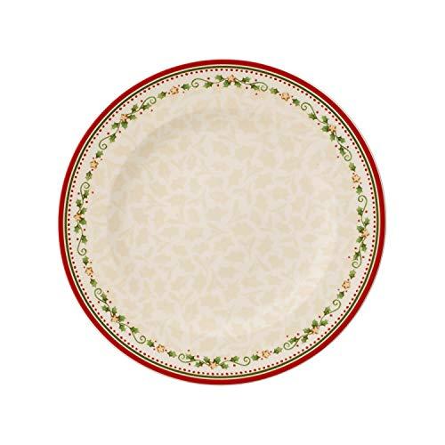 Villeroy & Boch Winter Bakery Delight Piattino Piano, 27 cm, Porcellana, Bianco/Rosso (Stella cadente)