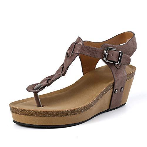 Sandalias Mujer Plataforma Alpargatas Cuña T-Correa Hebilla Strap Chancletas Romanas Vacaciones Fiesta Zapatos Verano 6.5cm Beige Negro Marrón Gris EU35-EU43