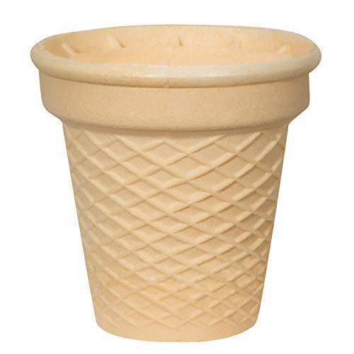 Halbsüße Softeisbecher - 12 Stück - Waffelbecher - groß mit Doppelrand - 70mm lang - 66mm Durchmesser - für Softeis - Eis - oder als Backform für Muffin & Cupcakes