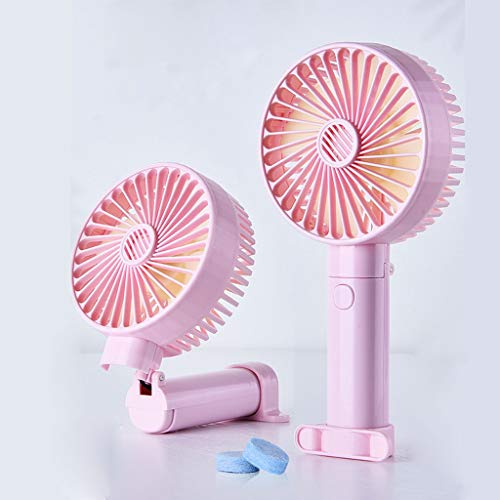 Mini-Palmare-ventilator, kleine, draagbare tafelventilator voor kinderwagen met USB-oplaadbare accu, elektrische ventilator, opvouwbaar, voor kantoor en op reis, PINK