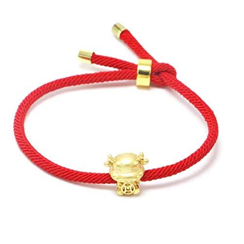 Pulsera para mujer de vaca dorada roja cadena pulsera 2021 buey chino año nuevo Lucky Blessing pulseras pulseras para mujeres pulseras de plata de ley para adolescentes y niñas para hombres