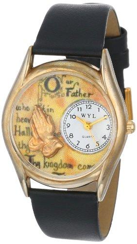 Drollige Uhren Lord's Prayer, Schwarz und goldfarben Unisex Quartz-Uhr mit weißem Zifferblatt Analog-Anzeige und C-0710010 Mehrfarbige Lederband