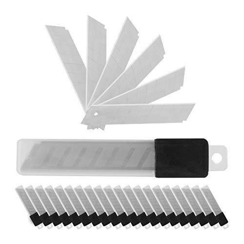 Relaxdays Abbrechklingen, 200 Stück, 7 Bruchstellen je Klinge, extrem scharf, 18 mm, Carbonstahl Ersatzklingen, silber
