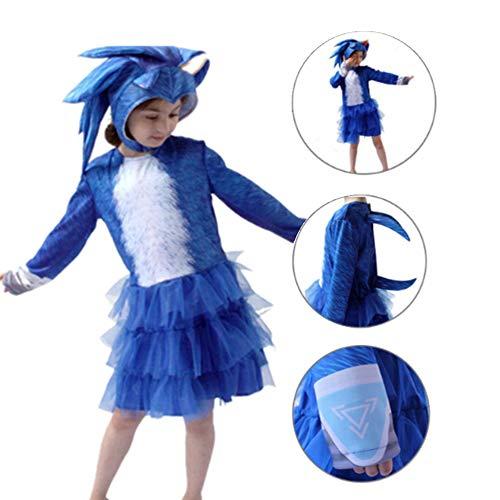 Sonic Disfraz Disfraz de Cosplay de Erizo para Niñas Halloween Falda Vestido de Personaje de Anime Película Fiesta de Cumpleaños Navidad Carnaval Regalo de Disfraces para Niños Chicas (L)