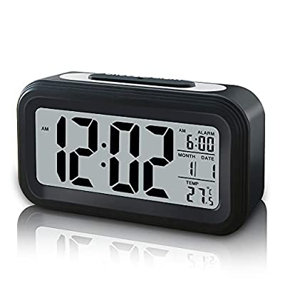 GLOUE Battery Operated Cordless Digital Alarm Clock, Smart Sensor Night Light, Date, Snooze, Temperature, 12/24Hr switchable, Simple Operation, for Kids/Heavy Sleepers/Bedroom/Travel