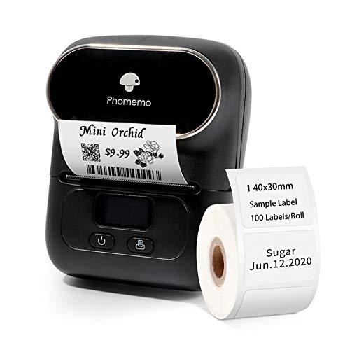 Etikettendrucker Phomemo M110 Thermo Etikettendrucker Mini Bluetooth Handheld-Drucker mit 1000-mAh-Akku, geeignet für Kleidung, Supermarkt, Einzelhandel usw, kompatibel für Android und iOS, Schwarz