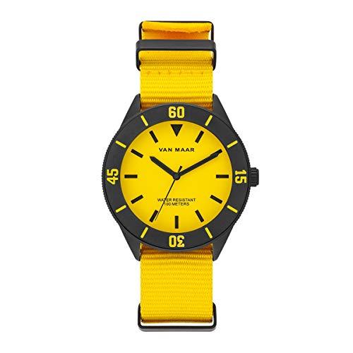 Van Maar Herren Uhr analog Japan Quarzwerk mit Nylonband gelb Armband 10120011