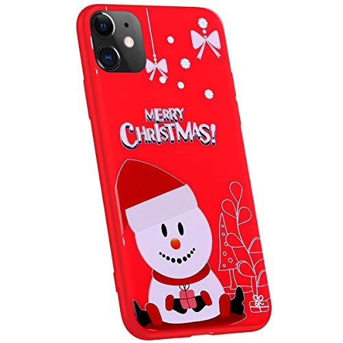Jinghuash compatibel met iPhone 11 beschermhoes rood silicone Hoed sneeuwpop