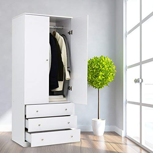 Kinsuite Wardrobe Closet Armoire with 3 Drawers and Hanging Rod 2 Door Cabinet for Bedroom Clothes White