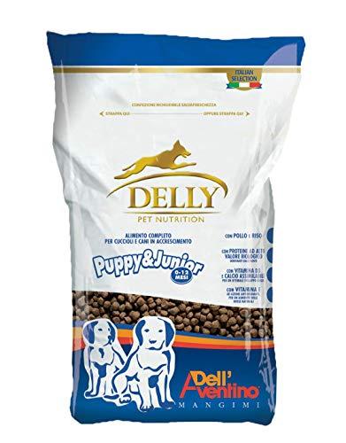 Delly Crocchette Cani Puppy Cibo per Cani Cuccioli 0-12 Mesi Alimento Secco Ricco in Pollo con Riso Puppy Dog in Accrescimento Appetibile Digeribile Confezione Salvafreschezza 3 kg Cibo Cuccioli Cane