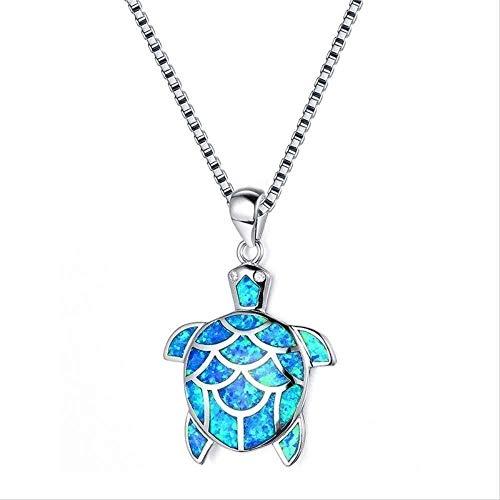 LBBYMX Co.,ltd Collar Bonito Collar de Cadena Larga aleación de Zinc joyería de Animales Azul ópalo de Fuego Bonito Colgante de Tortuga Collar para Mujeres Regalos