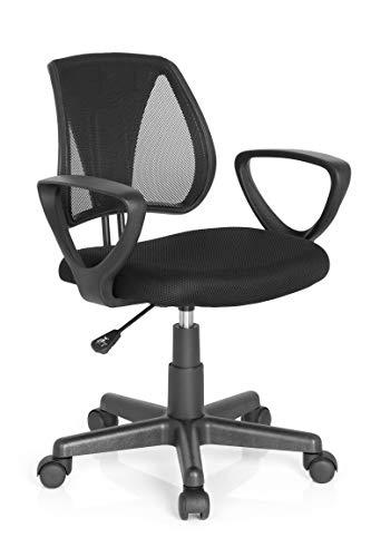 hjh OFFICE 725106 kinder bureaustoel KIDDY CD netstof zwart armsteun verstelbare rugleuning kinderstoel bureau chair