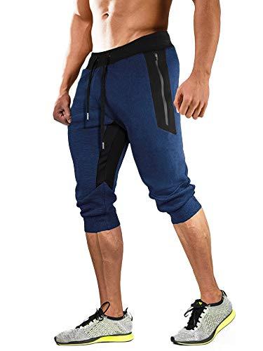 MAGCOMSEN Männer Sommer 3/4 Jogginghose Outdoor Wandern Shorts Baumwolle Herren Dreiviertel Fitnesshose Freizeit Shorts Laufen Sportswear Dunkelblau 34