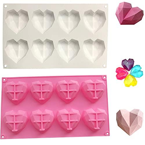 Yutou - 2 moldes de silicona con forma de corazón, 8 rejillas, 3D, para tartas, dulces, chocolate, magdalenas, jabón (color blanco y rosa)