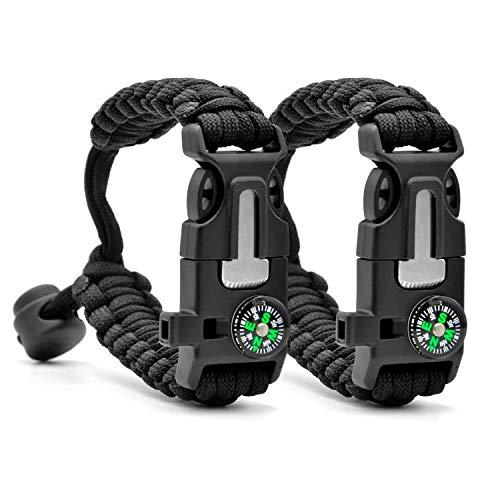 Binken Survival Armband,2PCS Paracord Armband Kit für Herren Damen mit Feuerstein + Kompass + Pfeife + Schirmseil zum Outdoor-Aktivitäten