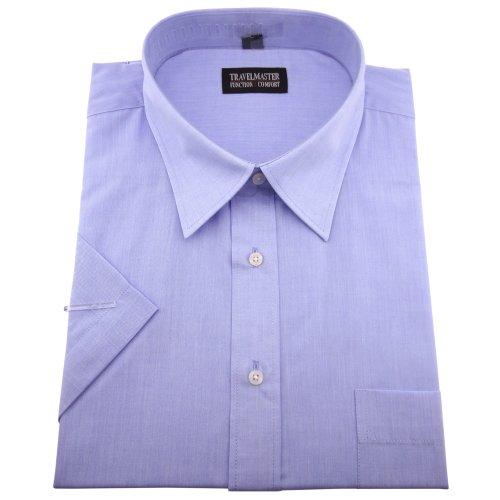 Travelmaster Herren Business & Freizeit Kurzarm Hemd mit Brusttasche - Farbe blau - Hemd Gr.41/42 L