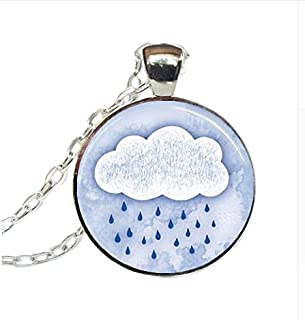 Glass Dome Pendant, Rain Cloud Necklace, Rainy Day Pendant, Spring Showers Jewelry, Weather Art Necklace