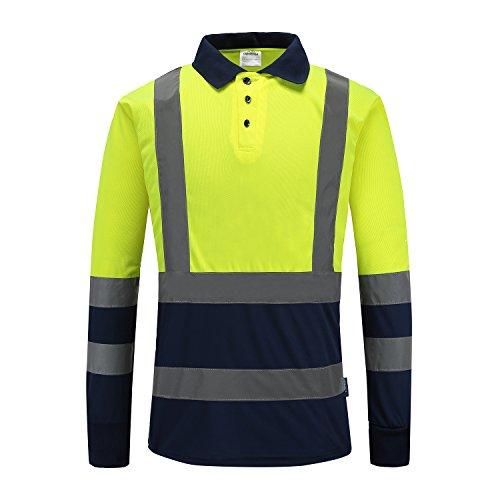 Warnschutz Shirt Sicherheits Arbeitskleidung Hoch Visibility Polo T Shirt Sicherheits-Polo-Shirt Langarm (gelb, XL)