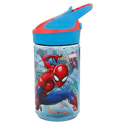 STOR Trinkflasche TRITAN Premium Klein 480 ml Spiderman Graffiti Schwarz Medium