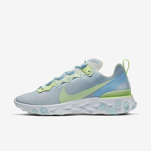 Nike Women's React Element 55 Running Shoes (11, White/Frosted Spruce-Barely Volt)