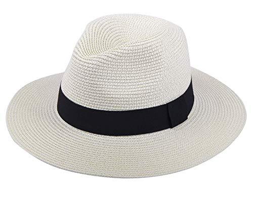 DRESHOW Donna Cappello Panama Cappello da Spiaggia in Paglia Fedora Cappello Arrotolato in Paglia a Tesa Larga Cappelli Panama UPF 50+