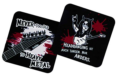 Heavy Metal Untersetzer 2er Set aus MDF - Motiv und Spruch, für Gläser, Becher, Tassen