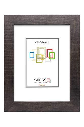 Chely Intermarket, Marco de Fotos Grande 30x40 cm (Marrón Oscuro) Mod-204 | Estilo galería | Marco de Madera para Decoración de Casa | Fotografías de Boda | moldura con Relieve