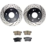 Atmansta QPD10058 Rear Brake kit with Drilled/Slotted Rotors and Ceramic Brake pads for 2003-07 honda accord 2004-08 acura tsx
