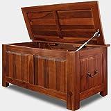 Deuba Coffre de Rangement en Bois Dur Acacia Style Vintage Antique 85cmx44 cmx48cm Malle de Rangement Jouets Salon Table Basse Magazines