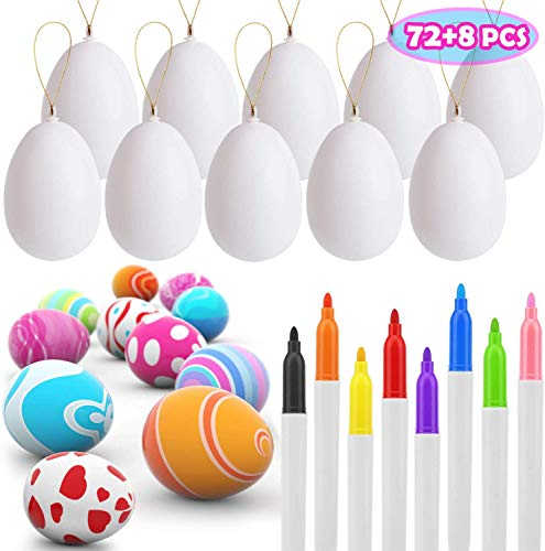 UFUNGA 72 Pcs White Blank Easter Eggs with 8 Pens, Hanging Plastic Easter Eggs with Rope, Artificial DIY Creative Decoration Eggs for Party Favors