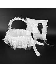 Almohada para anillo de boda, cesta de flores, almohada de encaje blanco, almohada para portador de anillo, peso ligero para la decoración del hogar del banquete(Flower basket + ring pillow)