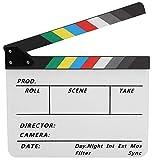 Clapboar de acrílico, claqueta de Escena de Director Claqueta de Cine de TV, Tablero de acción, Accesorio de Corte de película con bolígrafo(Color Blanco)
