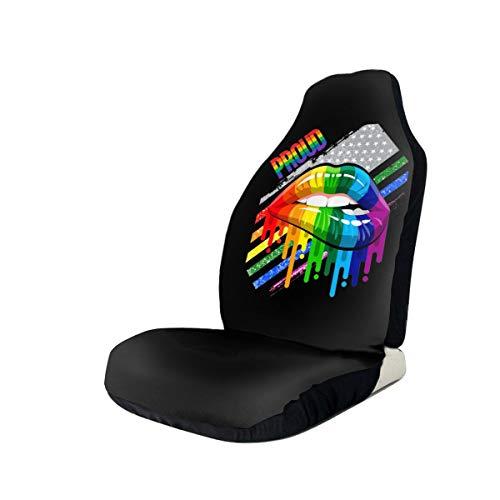 WUZZZZ Lesbian Rainbow Lips Pride Car Seat Covers Protectors Universal Car Seat Accessories