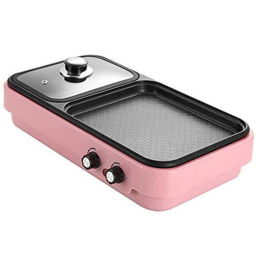 JFSKD Hot Pot Multifunctionele grillpan, elektrische bakplaat, dubbele temperatuurregeling, rookvrije anti-aanbaklaag, elektrische wok voor het huishouden