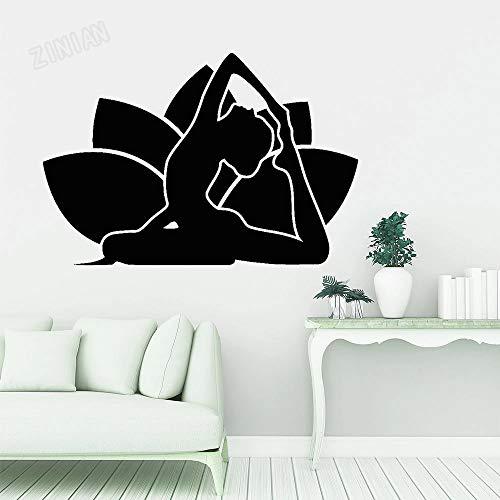 HGFDHG Lotus Vinilo Tatuajes de Pared Dormitorio Yoga Chica Pegatinas de Pared Sala de meditación Moderna Sala de Yoga decoración de la Ventana