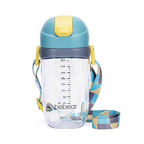 Bebamour Straw Sippy Cup Spill-Proof Baby Water Bottle with Straw for Toddlers, Soft Straw, BPA-Free (300 ML, Blue)