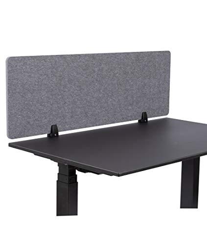 S Stand Up Desk Store ReFocus™ Raw Akustische Klemmtrennwand - Reduzieren Sie Lärm und visuelle Ablenkungen mit diesem leichten, am Schreibtisch montierten Sichtschutz (Schlossgrau, 120 x 41 cm)