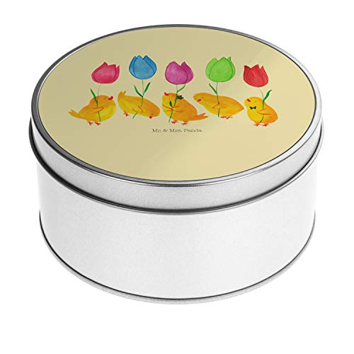 Mr. und Mrs. Panda Keksdose, Vorratsdose, Blechdose r& Küken Parade - Farbe Gelb Pastell