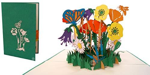 LIN17613, Pop Up Karte Blumen, Pop Up Geburtstagskarte, Grußkarten Blumen, Klappkarte Geburtstagskarte, Muttertagskarte, Danke, Viel Glück, Gute Besserung, Bienen, Schmetterling, Blumen, N356