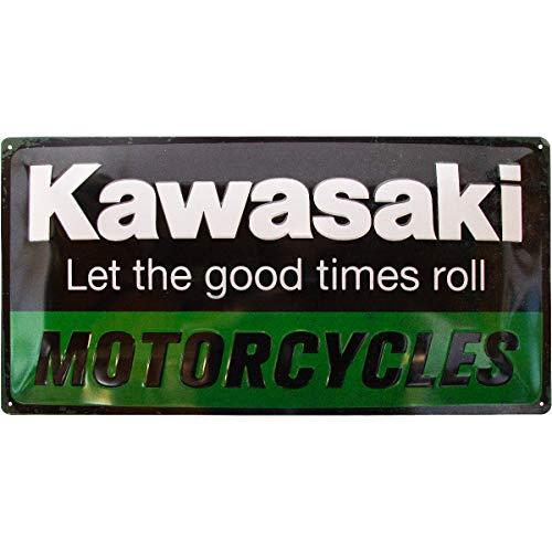 Nostalgic-Art Kawasaki – Parts – Geschenk-Idee für Motorrad-Fans Retro Blechschild, aus Metall, Vintage-Design zur Dekoration, 25 x 50 cm