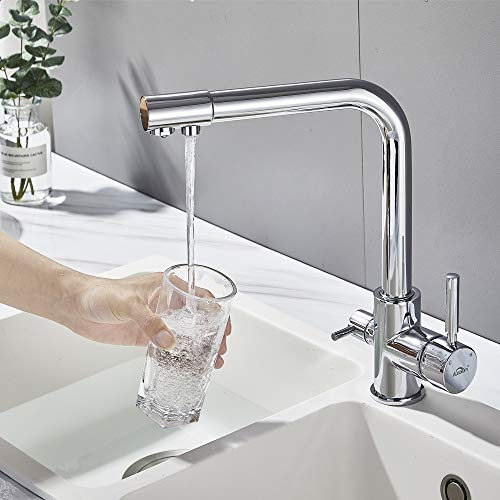 Auralum Carbonit Wasserfilter Wasserhahn Küchenarmatur Trinkwasserhahn 3 In 1 Mischbatterie für Küchenspüle Filtersystem (Hochdruck)