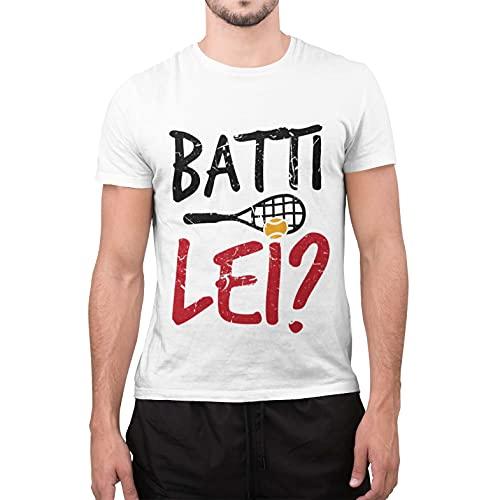 CHEMAGLIETTE! T-Shirt Divertente Uomo Maglietta Cotone con Stampa Citazioni Film Batti Lei Tuned, Colore: Bianco, Taglia: L