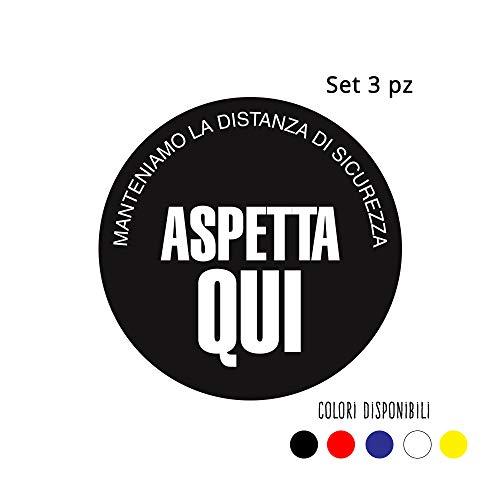 Set 3 adesivi calpestabili distanziali ASPETTA QUI - 30x30 cm in diversi colori - Kamiustore (Blu)