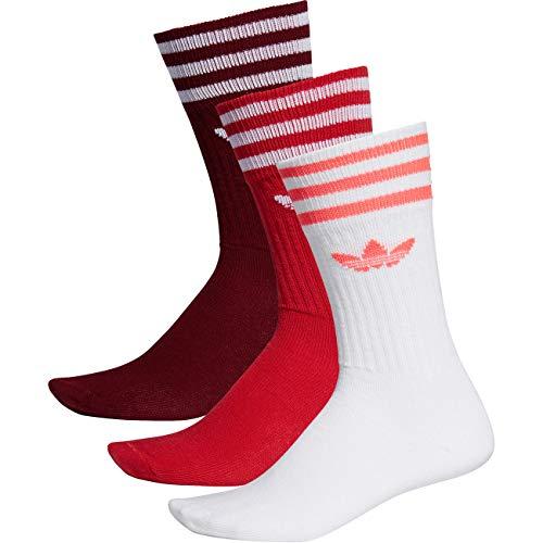 adidas Solid Crew 3 Pack, Socks Uomo, Collegiate Burgundy/Scarlet/White, 39-42
